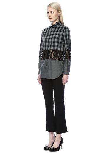 İngiliz Yaka Ekose Desenli Dantel Garnili Uzun Kollu Gömlek-Beymen Club